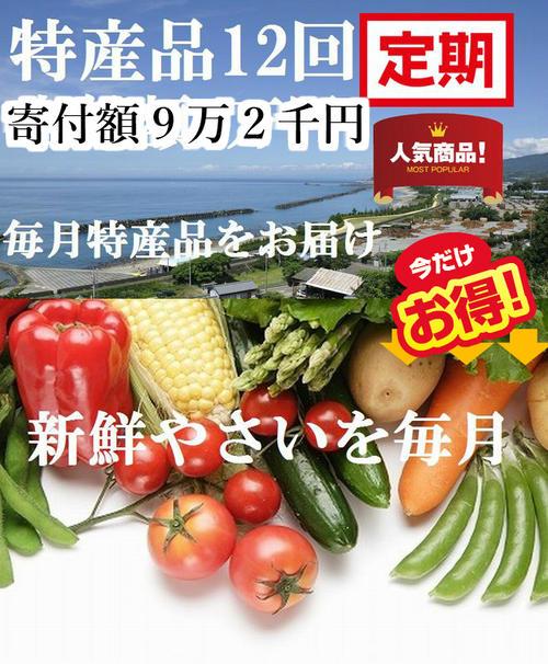 【ふるさと納税】om016 毎月新鮮野菜と一押し特産品をお届け♪新鮮野菜毎月&お楽しみコース(12ヶ月連続発送) 寄付額92,000円