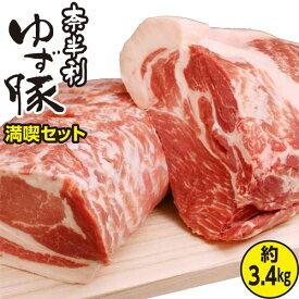 【ふるさと納税】31N7830bc こだわり配合飼料育成!もっちり食感!奈半利ゆず豚満喫セット(3.4kg程度)