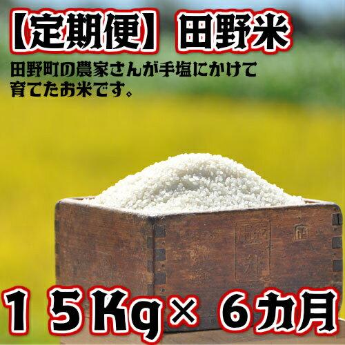【ふるさと納税】定期便 平成30年産 田野米 15Kg×6回(10月から3月毎月届きます) 高知県田野町の農家さんが手塩にかけて育てた新米です。