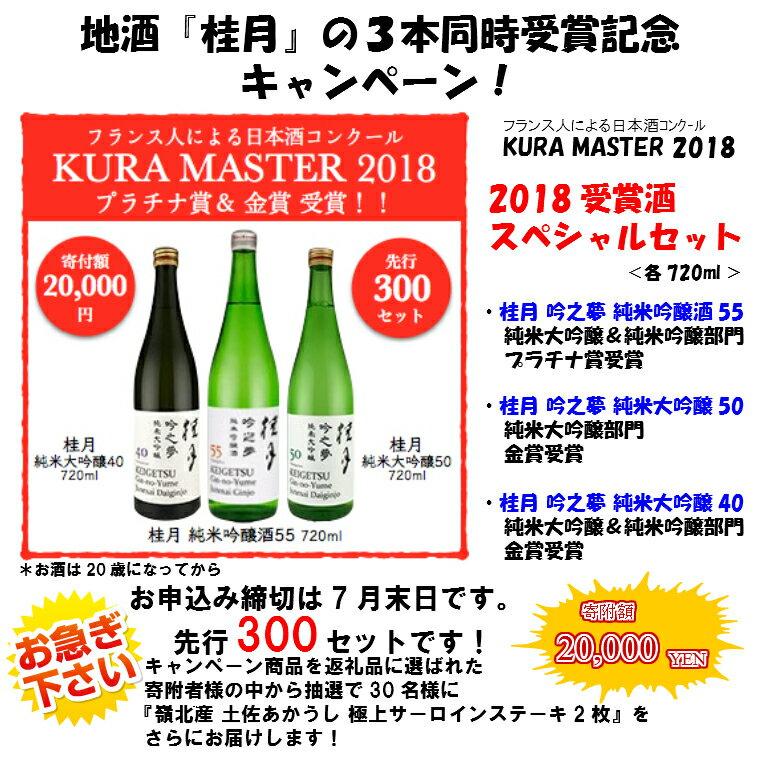 【ふるさと納税】地酒『桂月』3本同時受賞記念セット