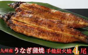FY09-R24九州産手焼き炭火うなぎ蒲焼4尾(1尾あたり120〜149g)