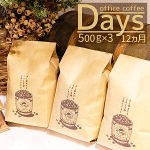 【ふるさと納税】<定期便>自家焙煎 オフィスコーヒー Days マイルドブレンド(500g×3)12ヵ月【粉】
