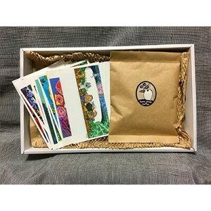 【ふるさと納税】【オリジナルアートセット9】ポストカード(10枚)・珈琲(豆)【1084758】