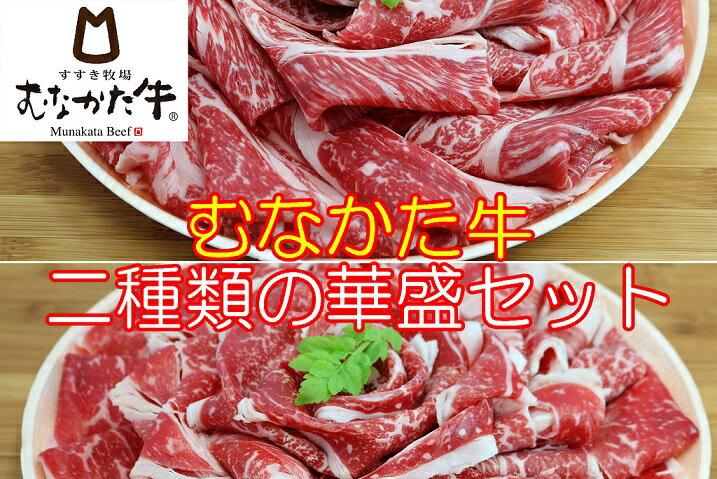 【ふるさと納税】A483 お米で育てたむなかた牛二種類の華盛セット(牧場直送)