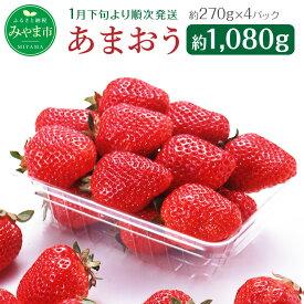 【ふるさと納税】≪2022年1月下旬以降順次発送≫ あまおう 約270g×4パック 計約1,080g イチゴ いちご 苺 果物 くだもの フルーツ 1kg以上 福岡県産 九州 予約 送料無料