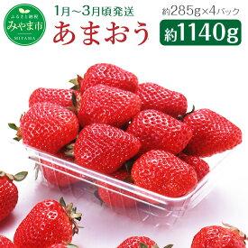 【ふるさと納税】≪予約≫ あまおう 約285g×4パック 計約1140g イチゴ いちご 苺 果物 くだもの フルーツ 1kg以上 福岡県産 九州 予約 送料無料