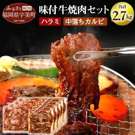 【ふるさと納税】【B-004】味付け牛焼肉セット 合計約2.7kg 送料無料 焼肉 セット ハラミ カルビ 中落 味付け bbq BBQ バーベキュー 牛肉 味付き焼肉 味付け肉
