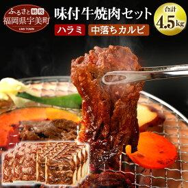 【ふるさと納税】【C-002】味付け牛焼肉セット 合計約4.5kg 送料無料 焼肉 セット ハラミ カルビ 中落 味付け bbq BBQ バーベキュー 牛肉 味付き焼肉 味付け肉