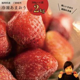 【ふるさと納税】 冷凍フルーツ いちご あまおう 2kg(500g×4袋)送料無料 果物 フルーツ ふるさと納税 限定品 ケーキ スムージー かき氷 アイス スイーツ 加工用 訳あり 産地直送 小分け MZ027