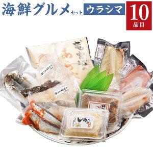 【ふるさと納税】海鮮グルメ セット ウラシマ 10種類 11パック 魚介類 惣菜 加工品 おかず おつまみ 冷凍 詰め合わせ 簡単調理 魚 ふぐの一夜干し さばそぼろ ごまさば 銀だら西京漬け あじみ