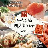 【ふるさと納税】送料無料!博多若杉牛もつ鍋(2〜3人前)と明太切れ子500gセット