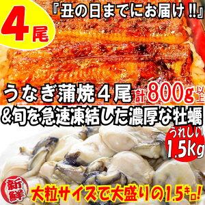 【ふるさと納税】B155.うなぎの蒲焼4尾&旬を急速凍結した濃厚な牡蠣(1.5kg)【海鮮おススメセット】