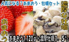 【ふるさと納税】B132.冬の定番セット.あまおう(1120g)・牡蠣(1.5キロ)セット.2021年11月以降配送
