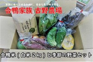 【ふるさと納税】古野農場の合鴨農法のお米「合鴨米・白米2kg」と季節の野菜セット
