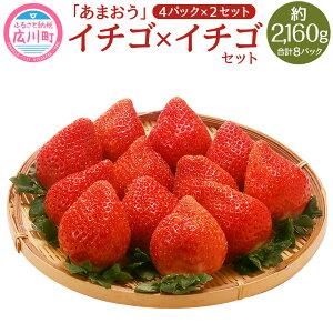 【ふるさと納税】イチゴ×イチゴセット イチゴ 約270g×4パック×2セット 合計8パック 約2,160g 約2.16kg あまおう 苺 いちご 果物 フルーツ 冷蔵 福岡県産 送料無料