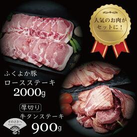【ふるさと納税】 厚切り 牛タン ステーキ 900g と ふくよか豚 ロースステーキ 2kg セット 送料込