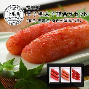 【ふるさと納税】KF0102 福太郎 辛子明太子(有色・無着色・有色七味あごだし)詰合せセット