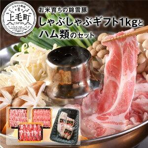 【ふるさと納税】FN0301 お米育ちの錦雲豚ギフト(しゃぶしゃぶ用1kg)とハム類のセット