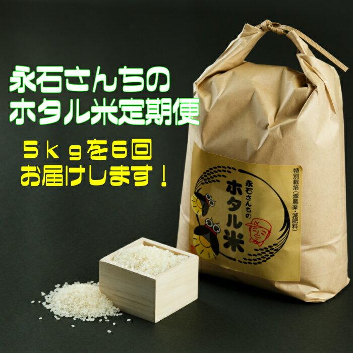 【ふるさと納税】d-6 永石さんちのホタル米定期便(5kg×6回)