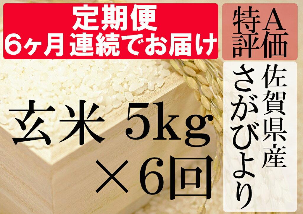 【ふるさと納税】G-5 《6ヶ月毎月お届け》佐賀県産さがびより 玄米5kg定期便