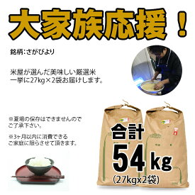 【ふるさと納税】 佐賀ブランド米「さがびより」54kg(白米)送料無料 佐賀の米 大家族 大量