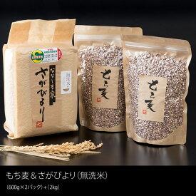 【ふるさと納税】 もち麦(1200g)・無洗米(2kg)セット