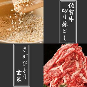 【ふるさと納税】佐賀牛800g切り落とし・さがびより玄米5kgセット(26C03)