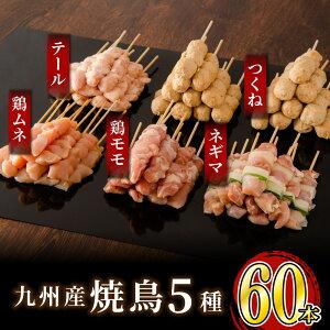 【ふるさと納税】絶品!九州産焼鳥 5種盛合せ 60本(特製焼き鳥のタレ付き)
