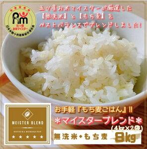 【ふるさと納税】無洗米+もち麦 8kg(4kg×2袋)【五つ星お米マイスターブレンド】(CI065)