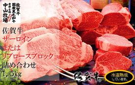 【ふるさと納税】中山牧場 佐賀牛サーロインまたはリブロースブロック(1.5キロ)