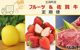 【ふるさと納税】玄海町産フルーツ&佐賀牛定期便【9回】