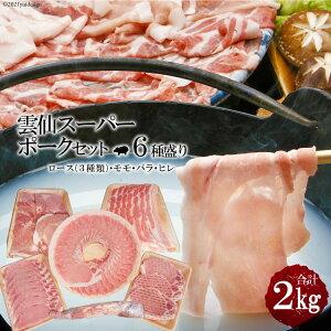 【ふるさと納税】雲仙スーパーポークセット2kgセット(ロース 1kg、バラ 300g、モモ 300g、ヒレ 約450g) 【スーパーポーク 豚 豚肉 肉 しゃぶしゃぶ スライス とんかつ 小間切れ ブロック 6種ミネ