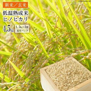 【ふるさと納税】【新米】低温熟成米(ヒノヒカリ・玄米) 4.5kg(1.5kg真空パック×3袋) 【令和2年 11月中旬から随時お届け】