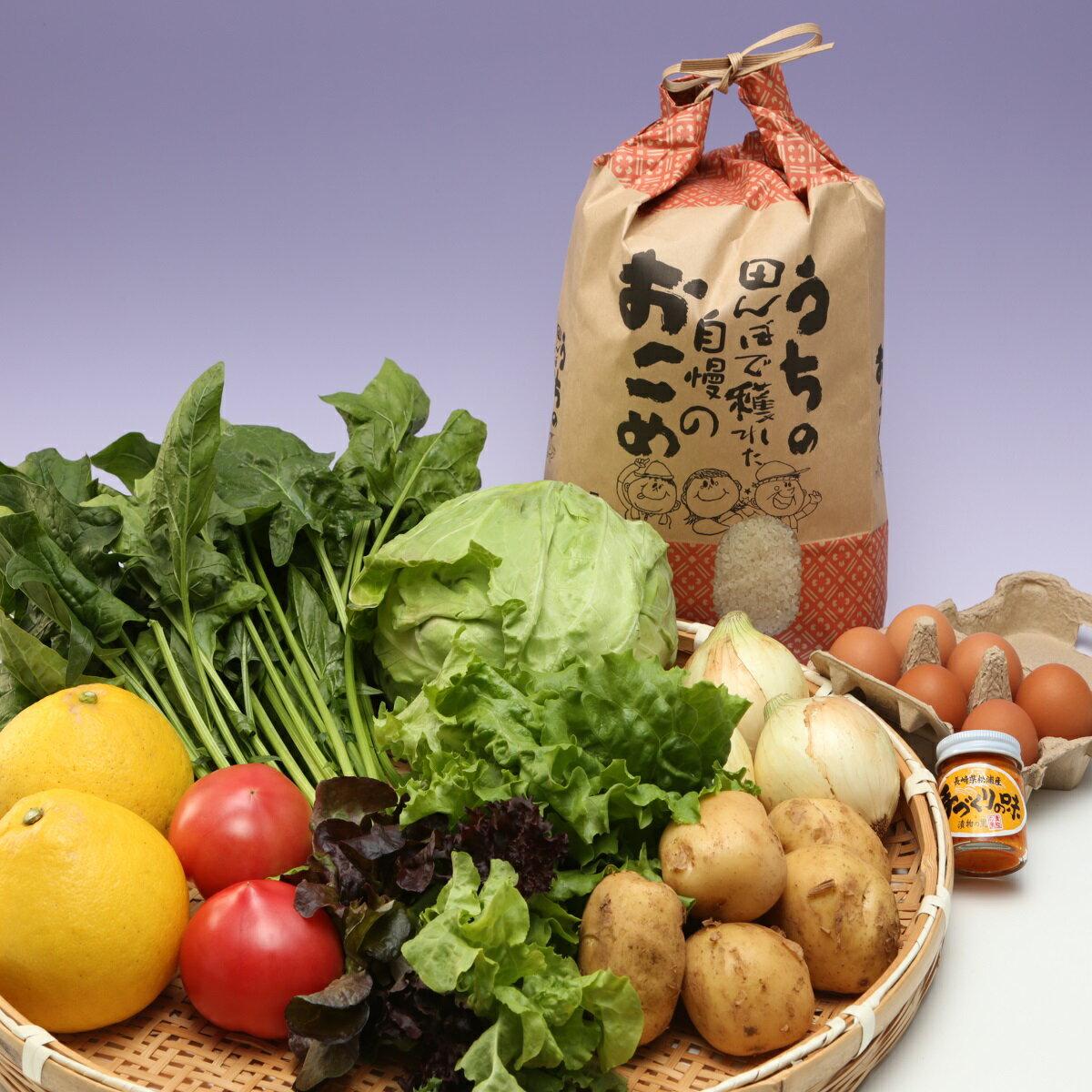 【ふるさと納税】道の駅松浦海のふるさと館『旬のお野菜+産みたて濃厚玉子6個+お米5kg』の大満足セット!