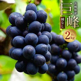【ふるさと納税】巨峰 種なし 約2kg 葡萄 ブドウ ぶどう フルーツ 果物 果実 ギフト 長崎県産 送料無料
