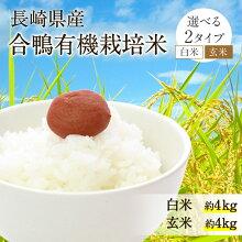 【ふるさと納税】長崎県産新米30年度合鴨有機栽培米白米または玄米かを選べる!白米4.5kg玄米5kg長崎にこまるヒノヒカリ米あいがも農法