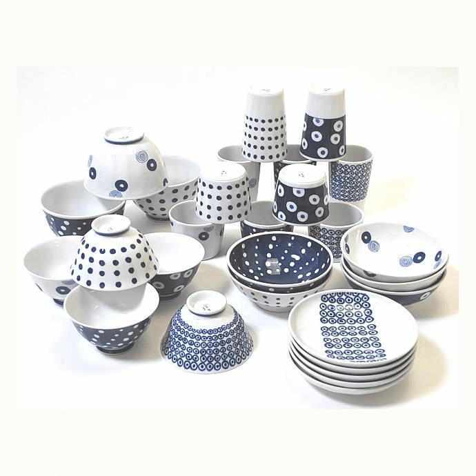 【ふるさと納税】OA11【西海陶器】藍丸紋軽量食器28点ホームセット【波佐見焼】