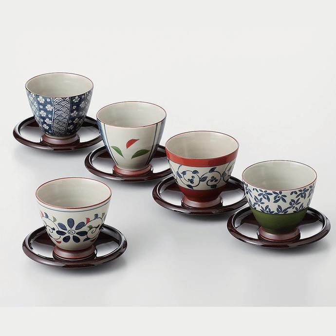 【ふるさと納税】OA17 【波佐見焼】茶たく付き重なりのよい湯のみ5柄セット