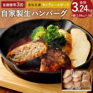 【ふるさと納税】定期便 年3回 隔月お届け 熊本県産 モンヴェールポーク 自家製 生ハンバーグ 合計9個 120g×3個入り3パック 豚肉 国産 九州産 冷凍 送料無料