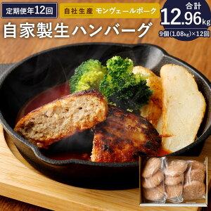 【ふるさと納税】定期便 年12回 熊本県産 モンヴェールポーク 自家製 生ハンバーグ 合計9個 120g×3個入り3パック 豚肉 国産 九州産 冷凍 送料無料