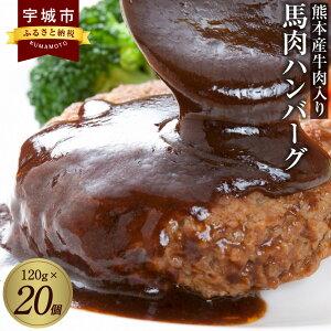 【ふるさと納税】熊本産牛肉入り 馬肉ハンバーグ 120g×20個 馬肉 ハンバーグ 時短 焼くだけ 簡単 惣菜 冷凍 送料無料