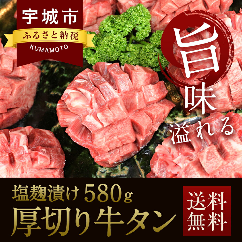【ふるさと納税】厚切り牛タン 塩麹漬け 580g