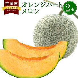 【ふるさと納税】メロン オレンジハート 2玉 約3.5kg 赤肉メロン 果物 熊本 送料無料