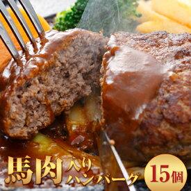 【ふるさと納税】馬肉入り手作りハンバーグ(約150g×15個) 肉の宮本《30日以内に順次出荷(土日祝除く)》
