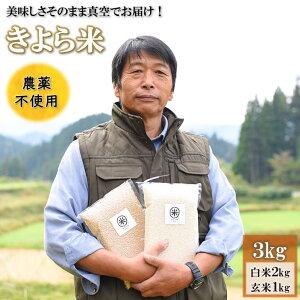 【ふるさと納税】米 白米 玄米 食べ比べ 3kg 無農薬 農薬不使用 有機栽培 令和2年 お米 真空パック きよら米 熊本 南小国 送料無料