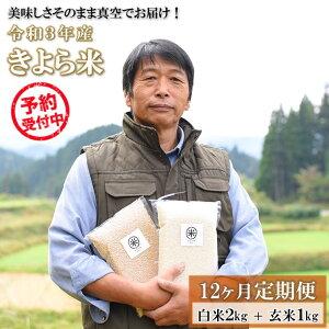 【ふるさと納税】定期便 12ヶ月 米 白米 玄米 食べ比べ 3kg 農薬不使用 無農薬 有機栽培 令和3年 真空パック きよら米 熊本 南小国町 送料無料