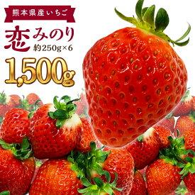 【ふるさと納税】熊本県産 いちご 恋みのり 合計1500g 約250g×6パック イチゴ 苺 果物 フルーツ 国産 九州産 送料無料