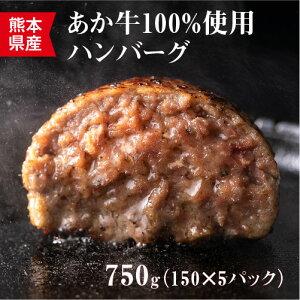 【ふるさと納税】健康あか牛ハンバーグステーキ 150g×5個 合計750g あか牛 ハンバーグ 和牛 惣菜 焼くだけ 簡単調理 洋食 冷凍 送料無料
