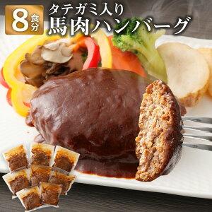 【ふるさと納税】タテガミ入り馬肉ハンバーグ 8個セット 合計約1.6kg 200g×8個 デミグラスソース ハンバーグ 馬肉 惣菜 おかず 真空パック 冷凍 送料無料
