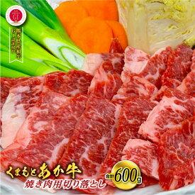 【ふるさと納税】熊本県産 GI認証取得 くまもとあか牛 焼き肉用切り落とし 合計600g